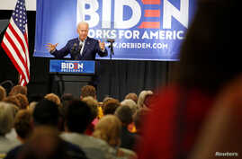 FILE - Democratic 2020 U.S. presidential candidate and former Vice President Joe Biden speaks at an event at the Mississippi Valley Fairgrounds in Davenport, Iowa,  June 11, 2019