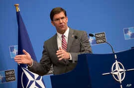Acting U.S. Secretary for Defense Mark Esper speaks during a media conference at the conclusion of a meeting of NATO defense ministers at NATO headquarters in Brussels, Belgium, June 27, 2019.