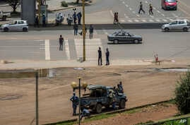 Security forces stand guard in Meskel Square in central Addis Ababa,  June 23, 2019.