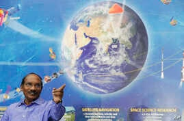 Indian Space Research Organization (ISRO) Chairman Kailasavadivoo Sivan gestures during a press conference at their headquarters in Bangalore, India, Friday, Jan. 11, 2019.