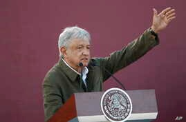 Mexican President Andres Manuel Lopez Obrador speaks during a rally in Tijuana, June 8, 2019.