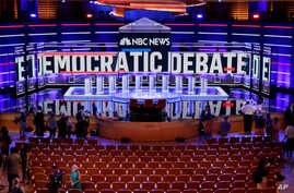 The stage of the first U.S. 2020 presidential election Democratic candidates debate is seen before the first 10 of 20 total Democrats take to the stage at the Adrienne Arsht Performing Arts Center in Miami, June 26, 2019.