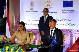 Ivan Surkos, Head of the EU Delegation to Egypt, and Sahar Nasr, Egypt's Minister for Investment and International Cooperation, sign an agreement for a European grant to renovate the Egyptian Museum, in Cairo, Egypt, June 16, 2019.