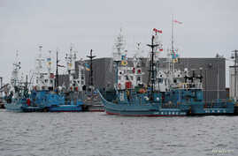 Whaling ships which are set to join the resumption of commercial whaling at anchor at a port in Kushiro, Hokkaido Prefecture, Japan, June 30, 2019.
