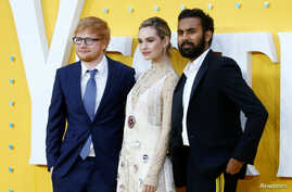 "Cast members Ed Sheeran, Lily James and Himesh Patel attend the UK premiere of ""Yesterday"" in London, Britain, June 18, 2019."