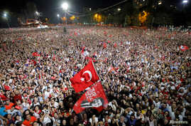Supporters attend a rally of Ekrem Imamoglu, mayoral candidate of the main opposition Republican People's Party (CHP), in Beylikduzu district, in Istanbul, Turkey, June 23, 2019.