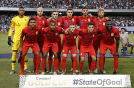 United States players pose for a picture before the 2019 Concacaf Gold Cup final football match between USA and Mexico on July 7, 2019 at Soldier Field stadium in Chicago, Illinois. Mexico defeated the US 1-0.