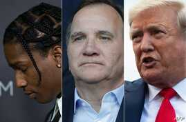 Photo combination created on July 25, 2019 shows rapper ASAP Rocky (L) in Los Angeles on Oct. 29, 2016, Swedish PM Stefan Lofven (C) in Paris on June 24, 2019 and US President Donald Trump (R) at the White House in Washington, DC., July 24, 2019.