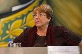 FILE - U.N. High Commissioner for Human Rights Michelle Bachelet listens during a meeting at the Foreign Ministry, in Caracas, Venezuela, June 20, 2019.