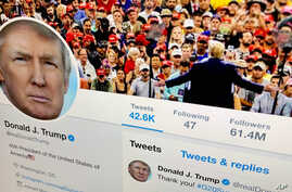 FILE - The U.S. President Donald Trump's Twitter feed is shown on a computer screen in New York, June 27, 2019.