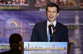 Democratic presidential candidate and South Bend, Ind., Mayor Pete Buttigieg addresses the Rainbow PUSH Coalition Annual International Convention in Chicago, July 2, 2019.