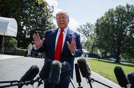 President Donald Trump talks to reporters on the South Lawn of the White House before departing for his Bedminster, N.J. golf club, Friday, July 5, 2019, in Washington.