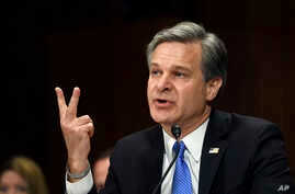 FBI Director Christopher Wray testifies before the Senate Judiciary Committee on Capitol Hill in Washington, July 23, 2019.