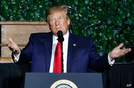 President Donald Trump gestures as he addresses a commemorative meeting of the Virginia General Assembly at Jamestown Settlement on the 400th anniversary of the meeting of the original House of Burgess in Jamestown, Va., July 30, 2019.