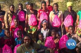 American Girl Scout Nyala Mpofu and teens from Zimbabwe whom she taught about health and hygiene