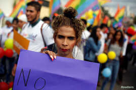 A participant holds a placard during a march to mark the International Day Against Homophobia, Transphobia and Biphobia in Tegucigalpa, Honduras May 17, 2018.