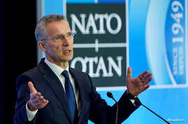FILE - NATO Secretary-General Jens Stoltenberg speaks to the media at the State Department in Washington, April 4, 2019.