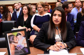 Yazmin Juarez, mother of 19-month-old Mariee, who died after detention by U.S. Immigration and Customs Enforcement (ICE), testifies before a House Oversight Subcommittee on Civil Rights and Human Services hearing in Washington, July 10, 2019.