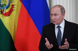 Russian President Vladimir Putin speaks as he meets with his Bolivian counterpart at the Kremlin in Moscow, Russia, July 11, 2019.