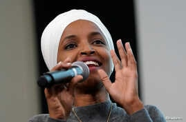 U.S. Rep Ilhan Omar (D-MN) takes part in a discussion on 'Impacts of Phobia in Our Civic and Political Discourse' during the Muslim Caucus Education Collective's conference in Washington, U.S., July 23, 2019.