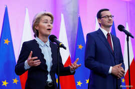 Incoming head of the European Commission Ursula von der Leyen speaks during a meeting with Polish Prime Minister Mateusz Morawiecki at the Prime Minister Chancellery in Warsaw, Poland, July 25, 2019.