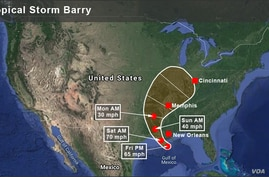 Map of Tropical Storm Barry