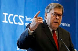U.S. Attorney General William Barr addresses the International Conference on Cybersecurity, hosted by the FBI and Fordham University, at Fordham University in New York, July 23, 2019.