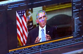FILE - This image made from video of a fake video featuring former President Barack Obama shows elements of facial mapping used in new technology that lets anyone make videos of real people appearing to say things they've never said.