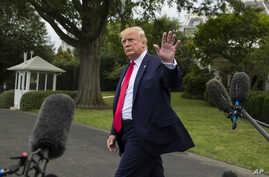 President Donald Trump departs after speaking with reporters on the South Lawn of the White House July 17, 2019, in Washington.