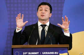 Ukrainian President Volodymyr Zelenskiy speaks during a EU-Ukraine summit press conference in Kyiv, Ukraine, July 8, 2019.