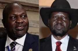 South Sudanese opposition leader Riek Machar ], left, agreed Friday, July 12, 2019, to a face-to-face meeting with President Salva Kiir, a step that could energize the lagging talks on a government for the civil war-wracked country.
