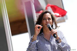 U.S. Democratic presidential candidate and U.S. Senator Kamala Harris (D-CA) speaks during a Fourth of July House Party in Indianola, Iowa, July 4, 2019.