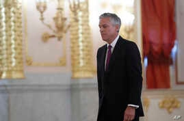 U.S. ambassador Jon Huntsman, seen  after presenting credentials to Russian President Vladimir Putin during a ceremony in the Kremlin in Moscow, Oct. 3, 2017.