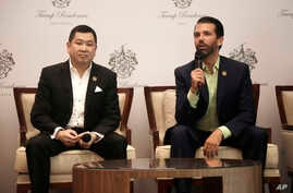 Donald Trump Jr., right, son of U.S. President Donald Trump, speaks as Media Nusantara Citra (MNC) Group President and CEO Hary Tanoesoedibjo listen during a press conference in Jakarta, Indonesia, Tuesday, Aug. 13, 2019.