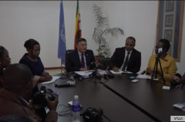 Bishow Parajuli, the outgoing U.N. Resident Coordinator in Zimbabwe meets with reporters in Harare, Zimbabwe, Aug. 28, 2019.