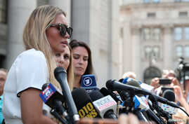 Jennifer Araoz, an alleged victim of Jeffrey Epstein, speaks to the media at Federal Court in New York, Aug. 27, 2019.