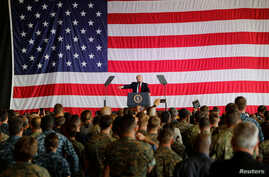 U.S. President Donald Trump delivers remarks to U.S. military personnel at Naval Air Station Sigonella following the G7 Summit, in Sigonella, Sicily, Italy, May 27, 2017.