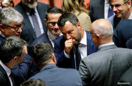 Italy's Interior Minister and Deputy Prime Minister Matteo Salvini reacts after the result of a vote on the future of a contested Alpine rail link to connect Turin with Lyon, France, at the Senate, Rome, Italy, Aug. 7, 2019.