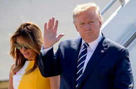 U.S President Donald Trump and first lady Melania Trump arrive in Biarritz, France, Aug. 24, 2019, for the G-7 summit.
