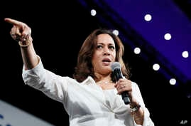Democratic presidential candidate Sen. Kamala Harris speaks at the Presidential Gun Sense Forum, Aug. 10, 2019, in Des Moines, Iowa.