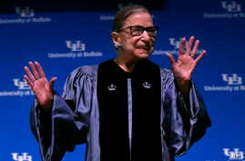 Supreme Court Associate Justice Ruth Bader Ginsburg speaks about her work and gender equality following a ceremony where she received a SUNY Honorary Degree from the University at Buffalo, Aug. 26, 2019, in Buffalo, N.Y.
