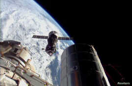 A Russian spacecraft prepares to dock with the International Space Station (ISS) in this still image taken from video, Nov. 7, 2013.
