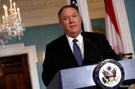 U.S. Secretary of State Mike Pompeo talks to the media after his meeting with Lebanon's Prime Minister Saad al-Hariri at the State Department in Washington, Aug. 15, 2019.