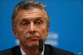 Argentina's President Mauricio Macri attends a news conference after the presidential primaries, in Buenos Aires, Argentina, Aug. 12, 2019.