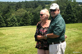 Nick and Bobbi Ercoline, the couple featured on the Woodstock album cover, pose together, at the site where the photo was taken 50 years ago, in Bethel, New York, June 12, 2019.