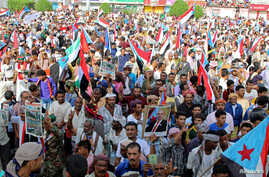 Supporters of UAE-backed southern separatists march during a rally in southern port city in Aden, Yemen, Aug. 15, 2019.