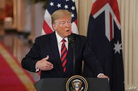 U.S. President Donald Trump speaks during a press conference with Australian Prime Minister Scott Morrison in the East Room of the White House in Washington, on Sept. 20, 2019.
