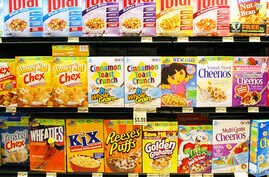 **FILE** A range of General Mills products line a grocery shelf in St. Paul, Minn.