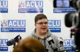 FILE - Gloucester County High School senior Gavin Grimm, a transgender student, speaks during a news conference in Richmond, Va., Monday, March 6, 2017.