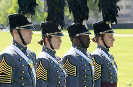 Members of the graduating class march during Parade Day at the U.S. Military Academy at West Point, New York, May 22, 2019.